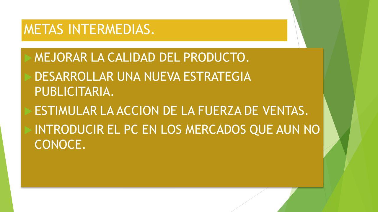 METAS INTERMEDIAS. MEJORAR LA CALIDAD DEL PRODUCTO.