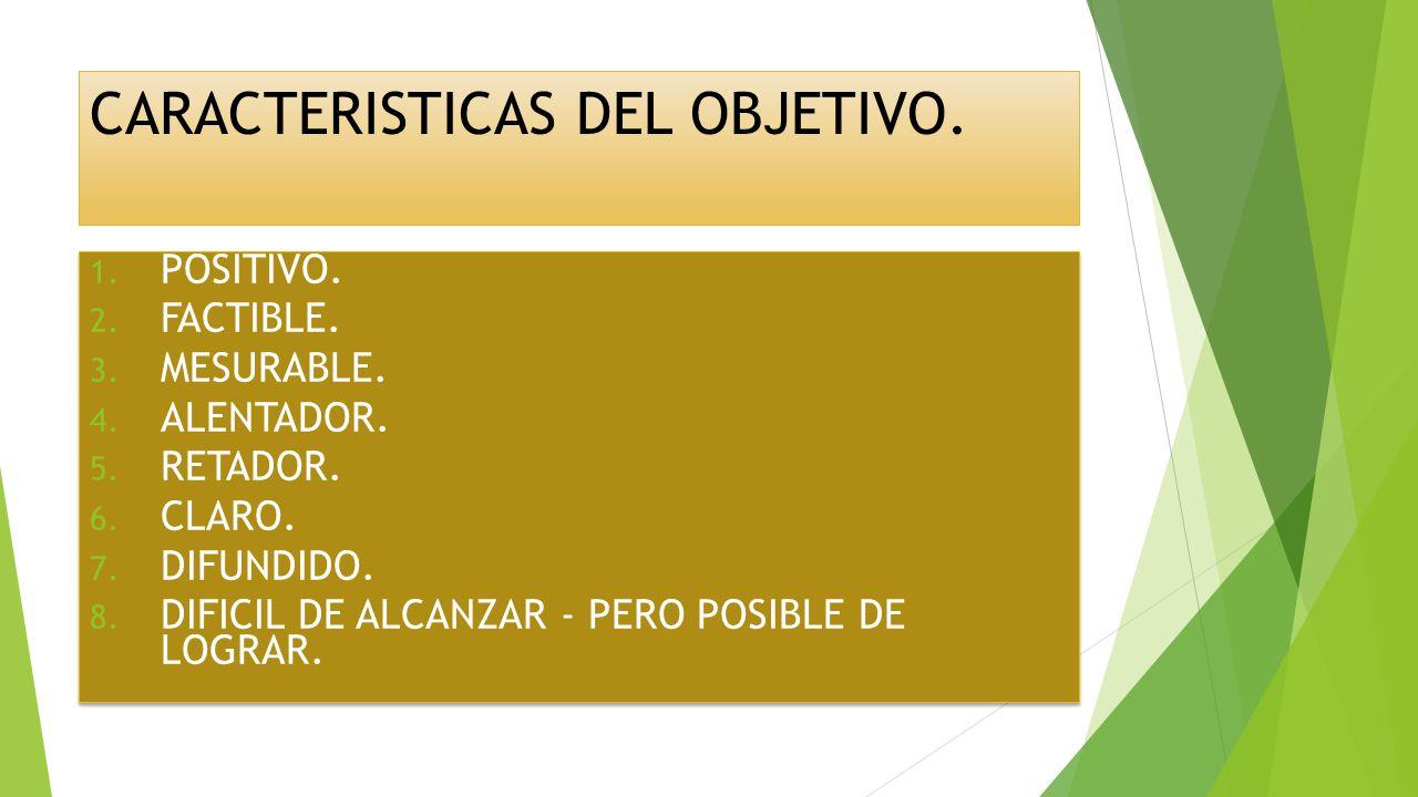 CARACTERISTICAS DEL OBJETIVO.