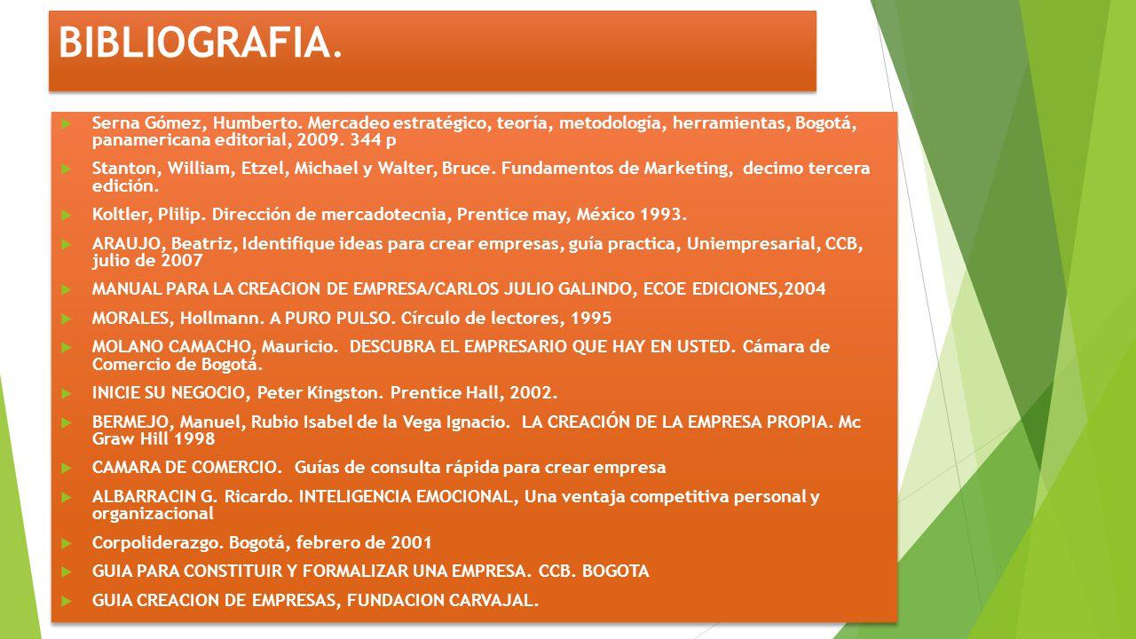 BIBLIOGRAFIA. Serna Gómez, Humberto. Mercadeo estratégico, teoría, metodología, herramientas, Bogotá, panamericana editorial, 2009. 344 p.