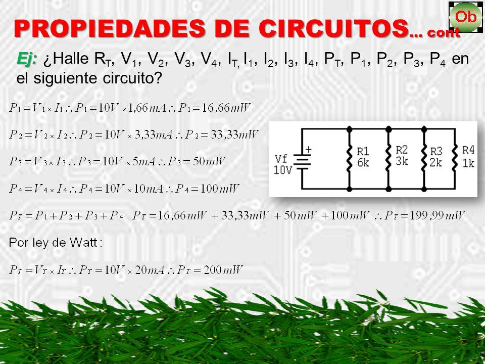PROPIEDADES DE CIRCUITOS… cont