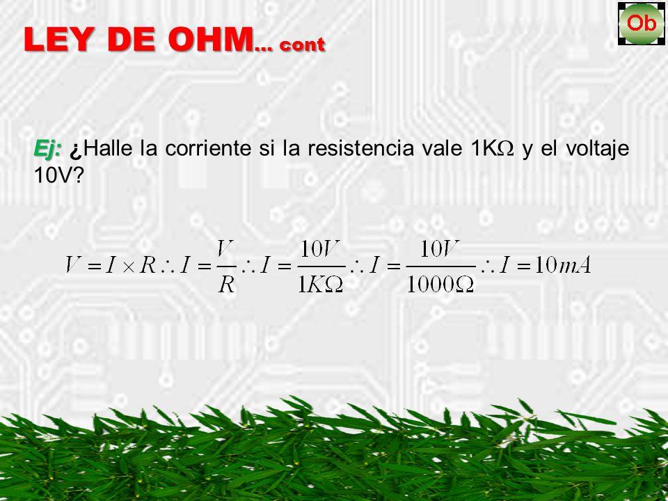 Ej: ¿Halle la corriente si la resistencia vale 1K y el voltaje 10V