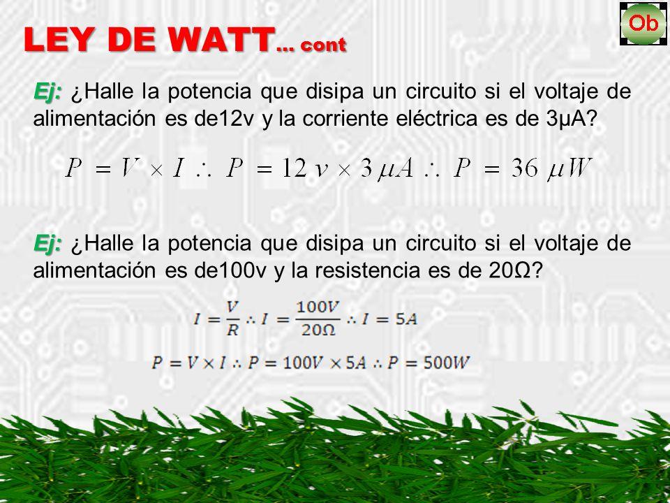 LEY DE WATT… cont Ej: ¿Halle la potencia que disipa un circuito si el voltaje de alimentación es de12v y la corriente eléctrica es de 3µA