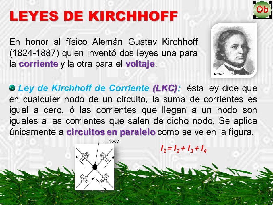 LEYES DE KIRCHHOFF En honor al físico Alemán Gustav Kirchhoff (1824-1887) quien inventó dos leyes una para la corriente y la otra para el voltaje.