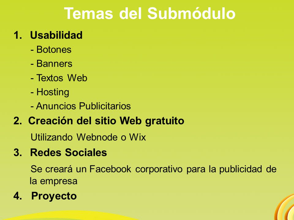 Temas del Submódulo Utilizando Webnode o Wix