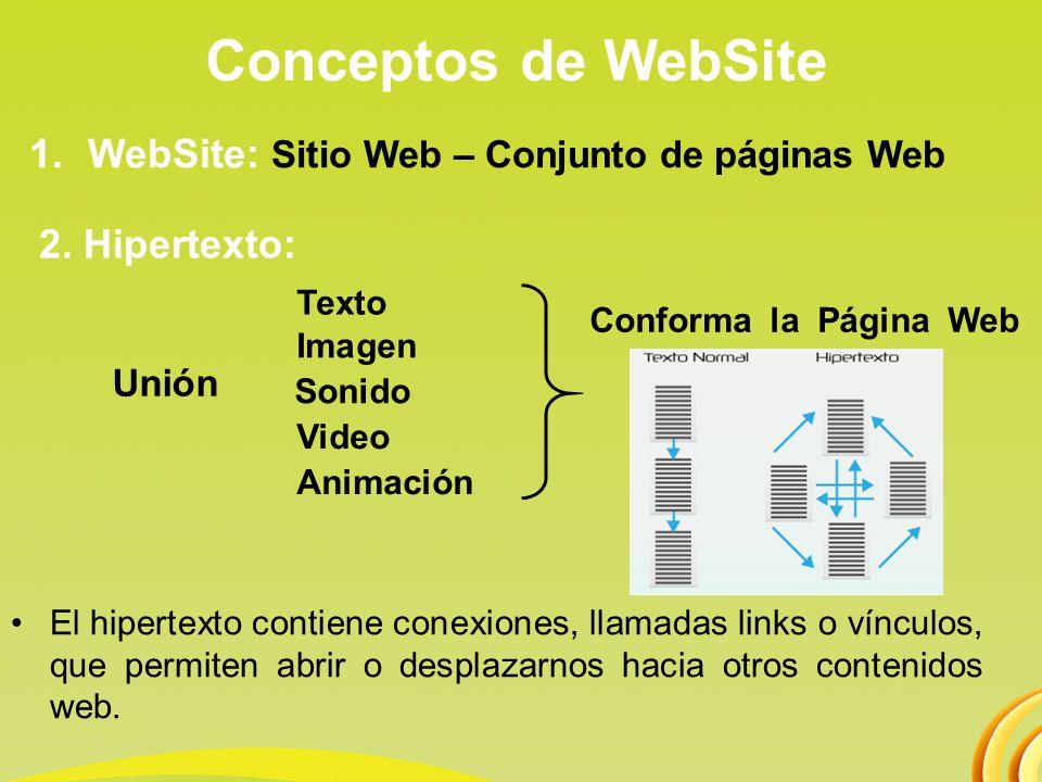 Conceptos de WebSite WebSite: Sitio Web – Conjunto de páginas Web