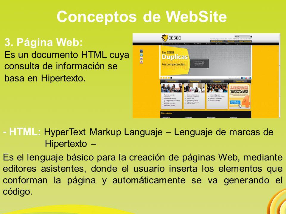 Conceptos de WebSite 3. Página Web: Es un documento HTML cuya consulta de información se basa en Hipertexto.
