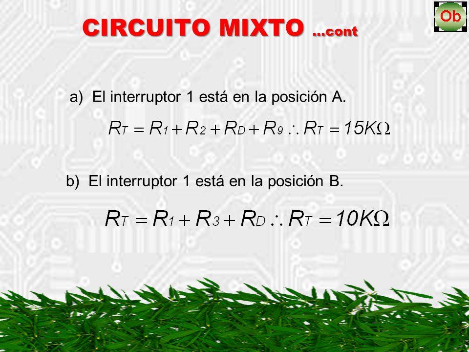 CIRCUITO MIXTO …cont a) El interruptor 1 está en la posición A.