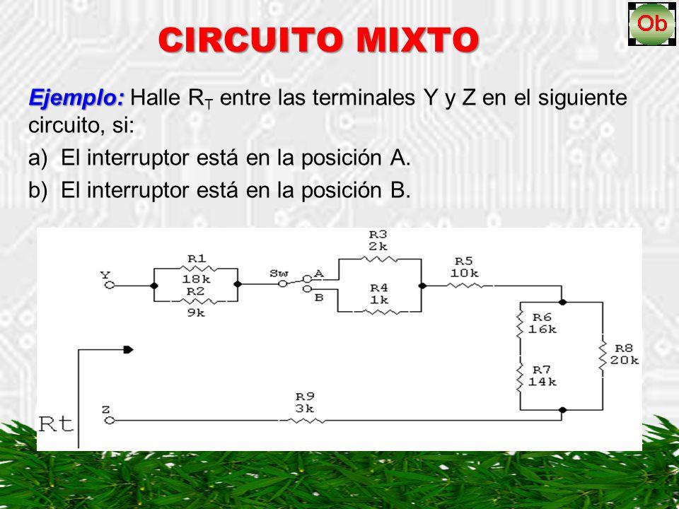 CIRCUITO MIXTO Ejemplo: Halle RT entre las terminales Y y Z en el siguiente circuito, si: a) El interruptor está en la posición A.