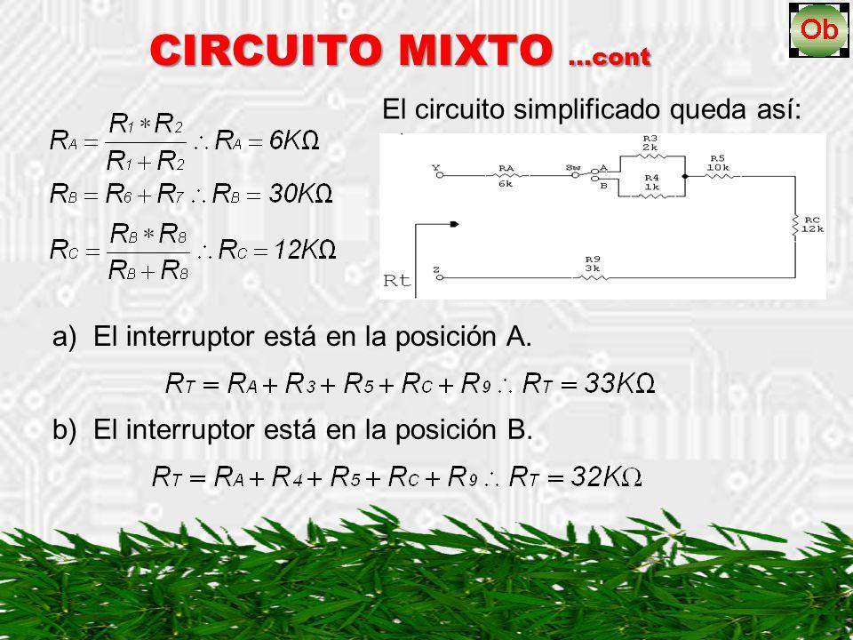 El circuito simplificado queda así: