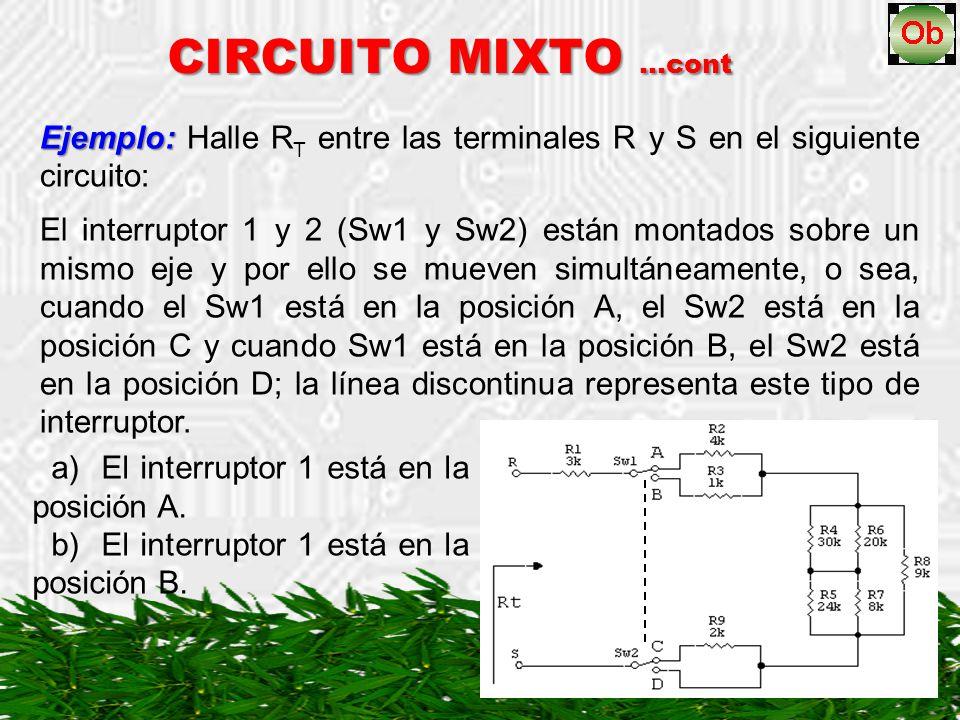 CIRCUITO MIXTO …cont Ejemplo: Halle RT entre las terminales R y S en el siguiente circuito:
