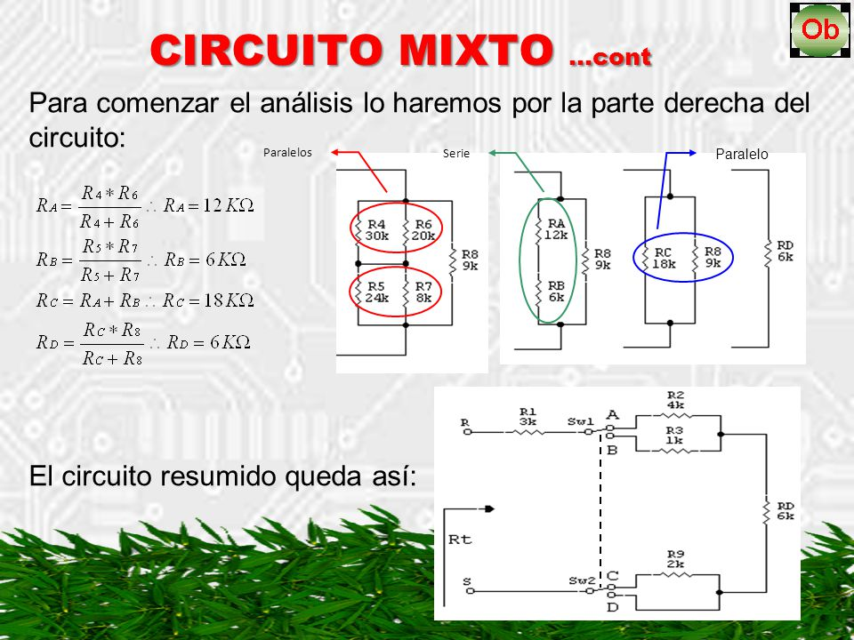 CIRCUITO MIXTO …cont Para comenzar el análisis lo haremos por la parte derecha del circuito: Paralelos.