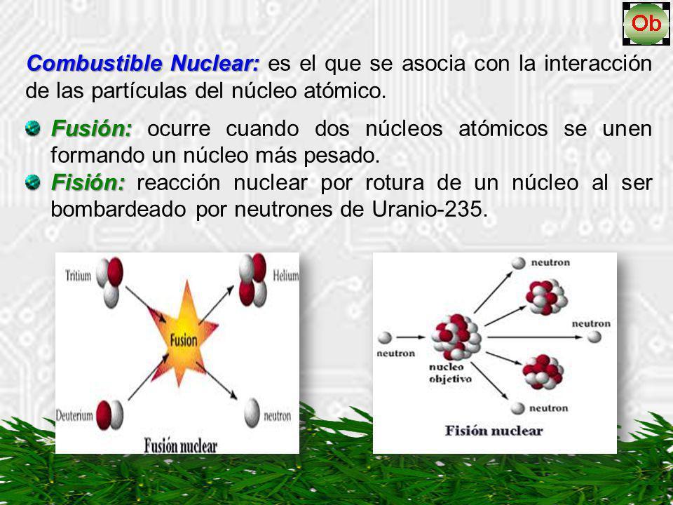 Combustible Nuclear: es el que se asocia con la interacción de las partículas del núcleo atómico.