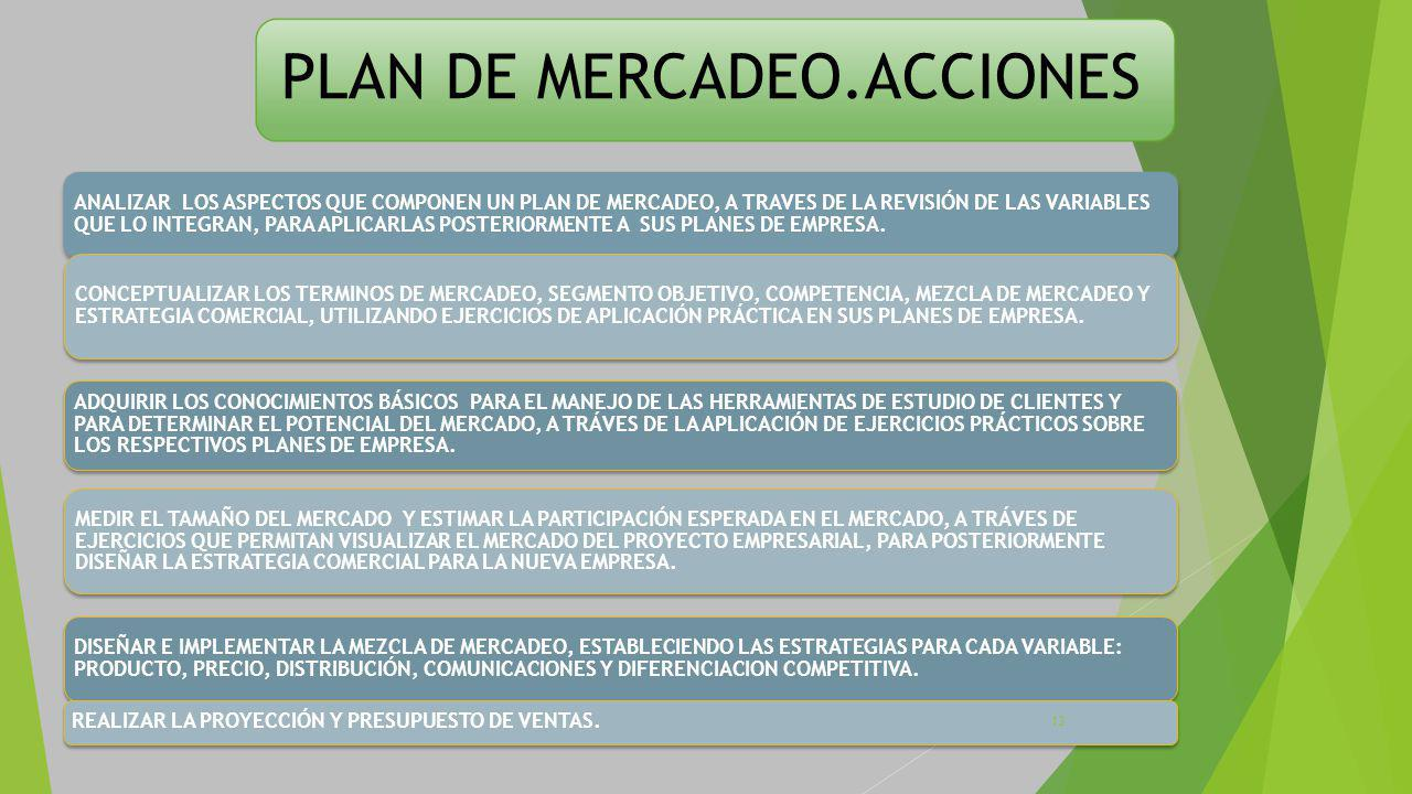 PLAN DE MERCADEO.ACCIONES