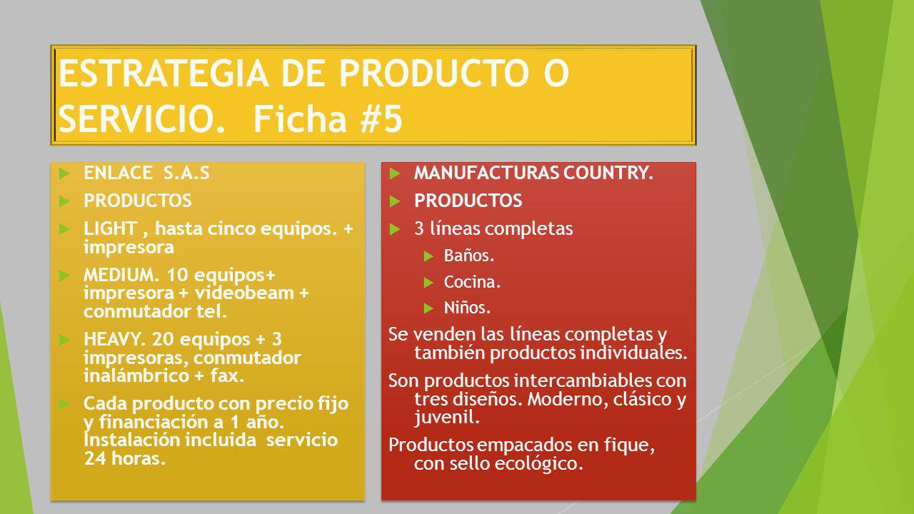 ESTRATEGIA DE PRODUCTO O SERVICIO. Ficha #5