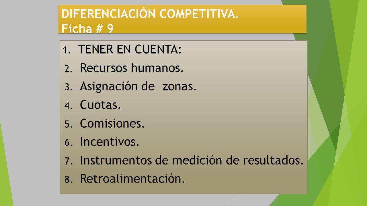 DIFERENCIACIÓN COMPETITIVA. Ficha # 9