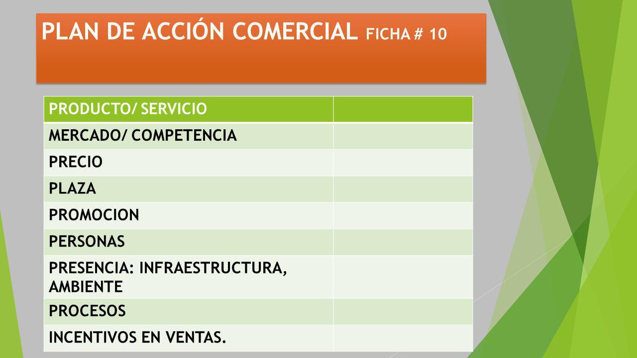 PLAN DE ACCIÓN COMERCIAL FICHA # 10