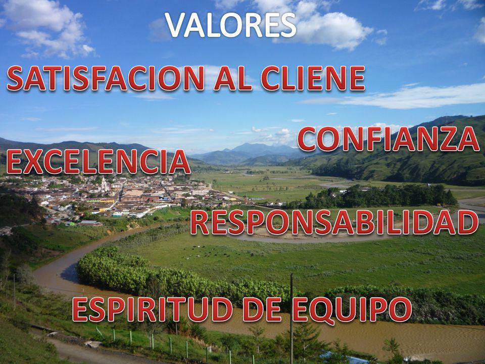 VALORES SATISFACION AL CLIENE CONFIANZA EXCELENCIA RESPONSABILIDAD ESPIRITUD DE EQUIPO