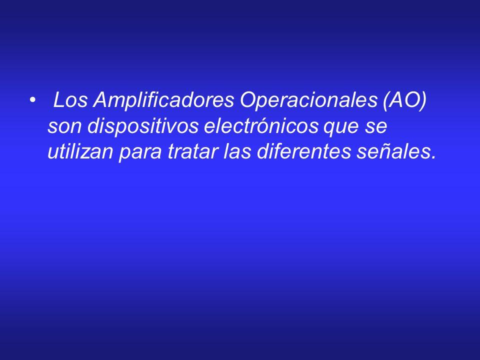 Los Amplificadores Operacionales (AO) son dispositivos electrónicos que se utilizan para tratar las diferentes señales.