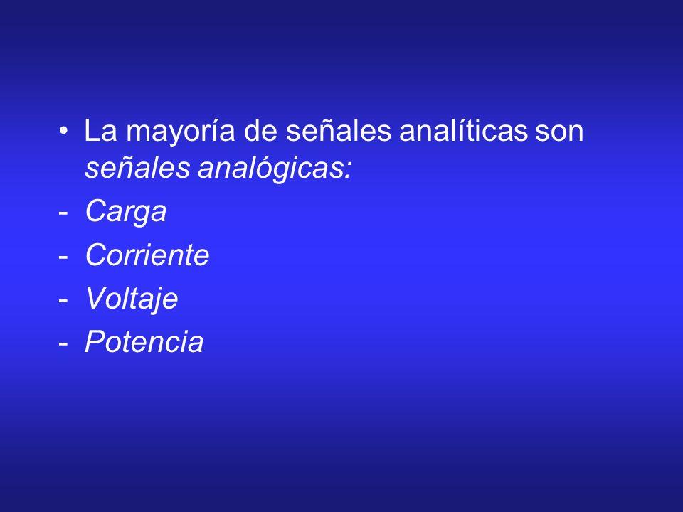 La mayoría de señales analíticas son señales analógicas: