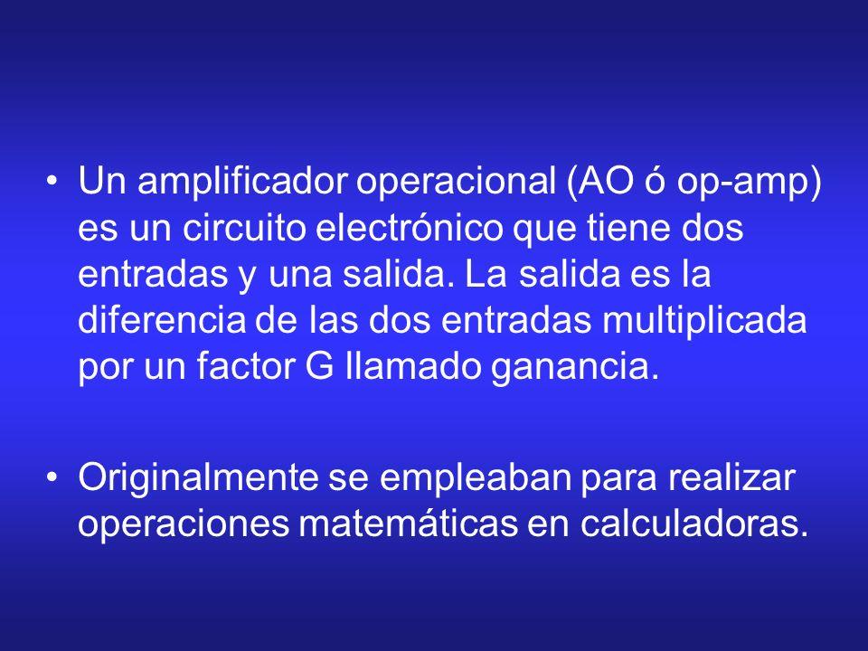 Un amplificador operacional (AO ó op-amp) es un circuito electrónico que tiene dos entradas y una salida. La salida es la diferencia de las dos entradas multiplicada por un factor G llamado ganancia.