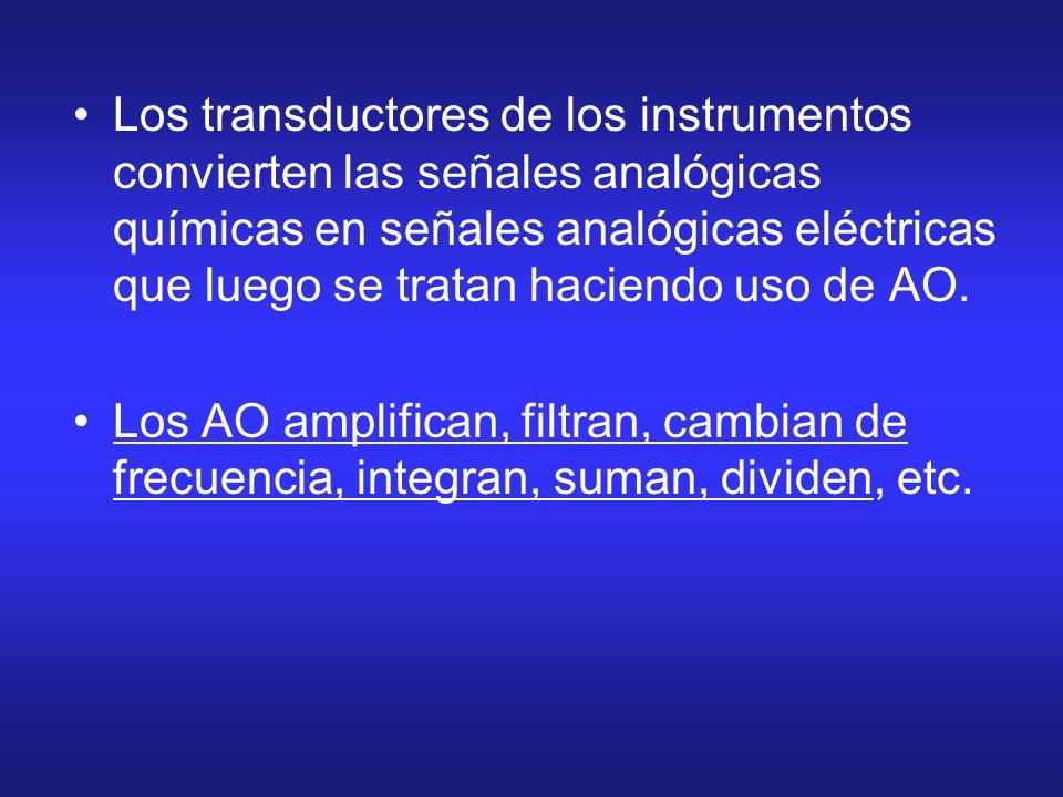 Los transductores de los instrumentos convierten las señales analógicas químicas en señales analógicas eléctricas que luego se tratan haciendo uso de AO.