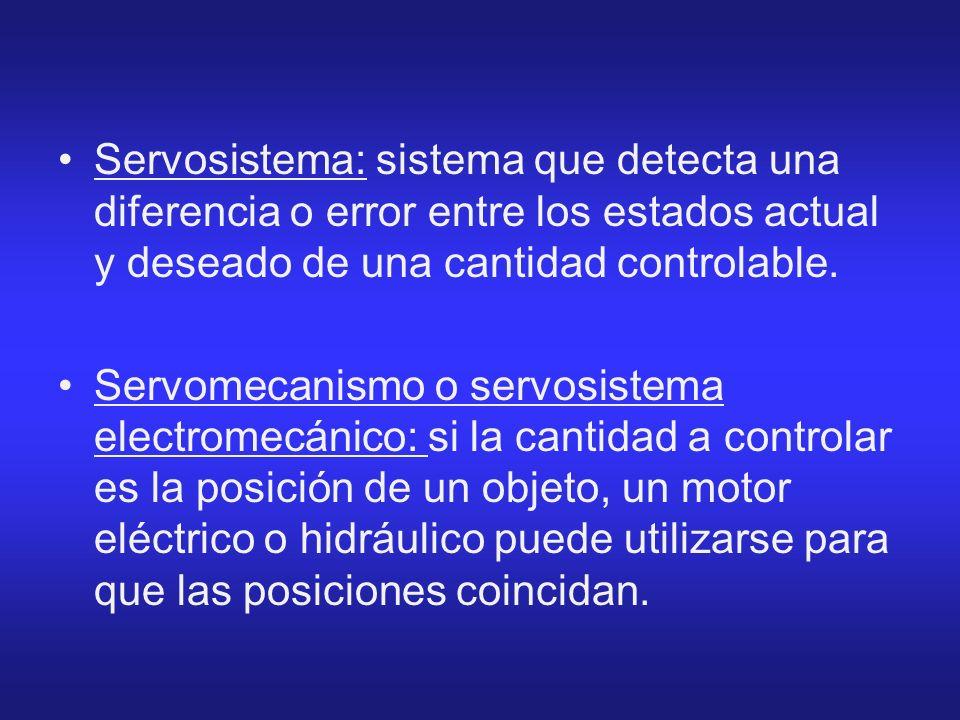 Servosistema: sistema que detecta una diferencia o error entre los estados actual y deseado de una cantidad controlable.