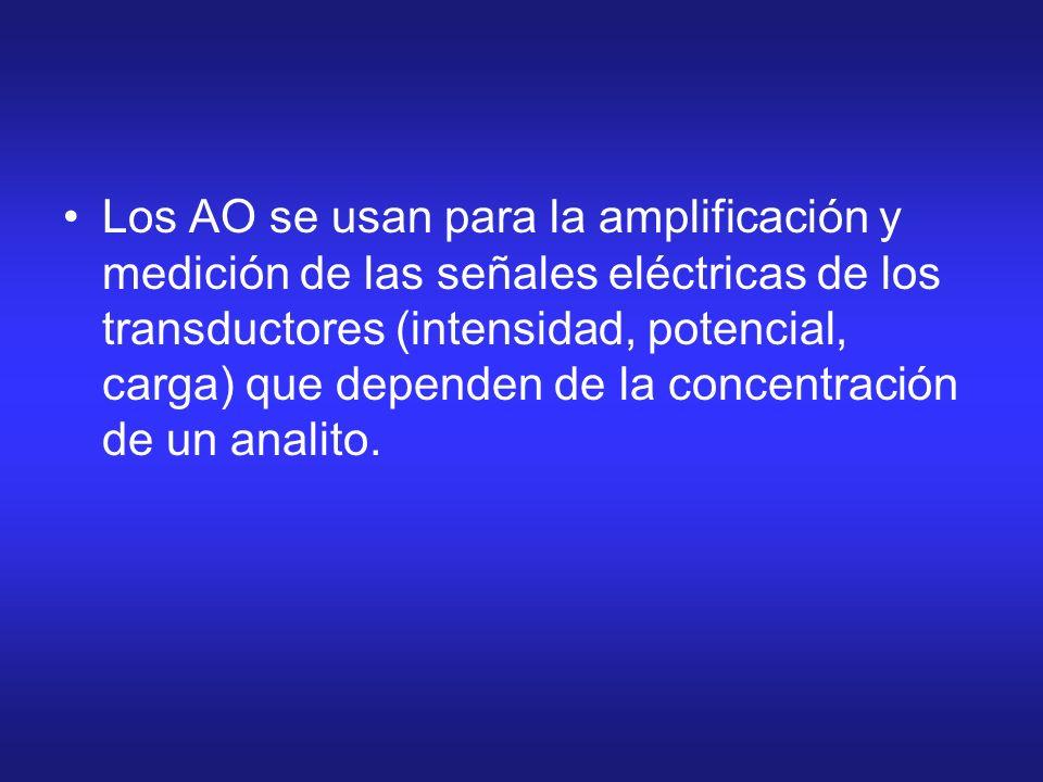 Los AO se usan para la amplificación y medición de las señales eléctricas de los transductores (intensidad, potencial, carga) que dependen de la concentración de un analito.