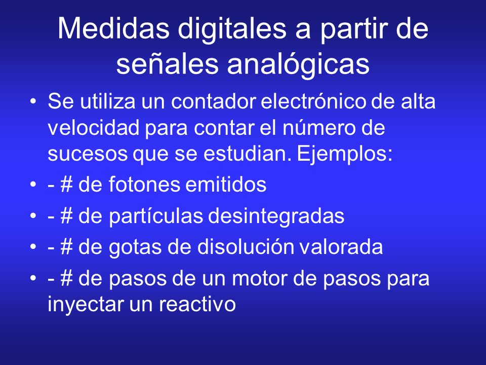 Medidas digitales a partir de señales analógicas