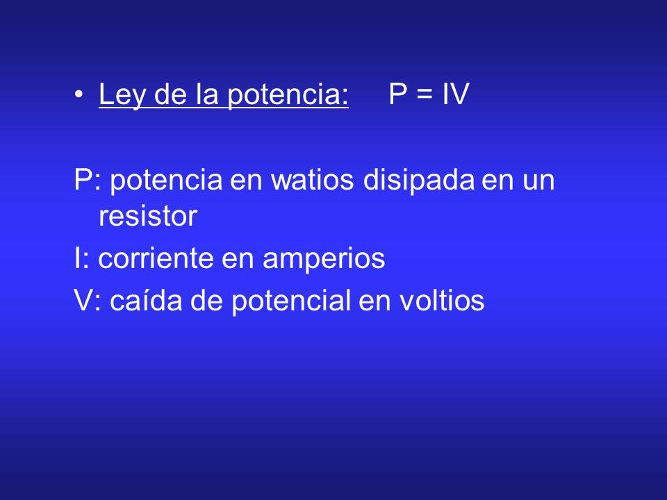 Ley de la potencia: P = IV