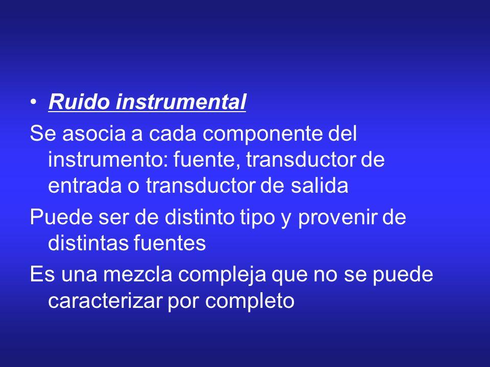 Ruido instrumental Se asocia a cada componente del instrumento: fuente, transductor de entrada o transductor de salida.