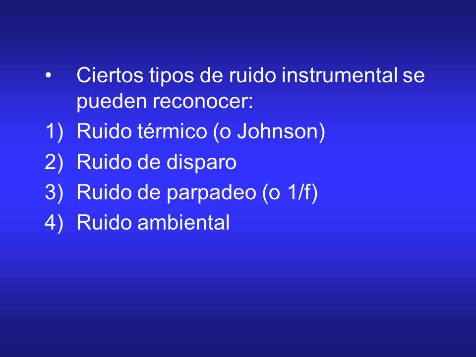 Ciertos tipos de ruido instrumental se pueden reconocer:
