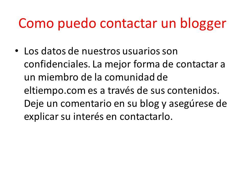 Como puedo contactar un blogger
