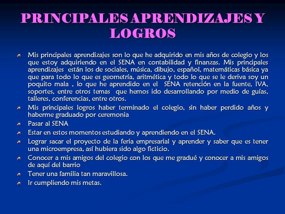 PRINCIPALES APRENDIZAJES Y LOGROS