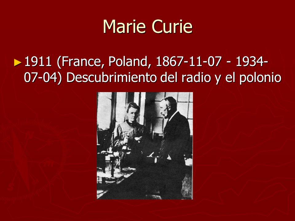 Marie Curie 1911 (France, Poland, 1867-11-07 - 1934-07-04) Descubrimiento del radio y el polonio