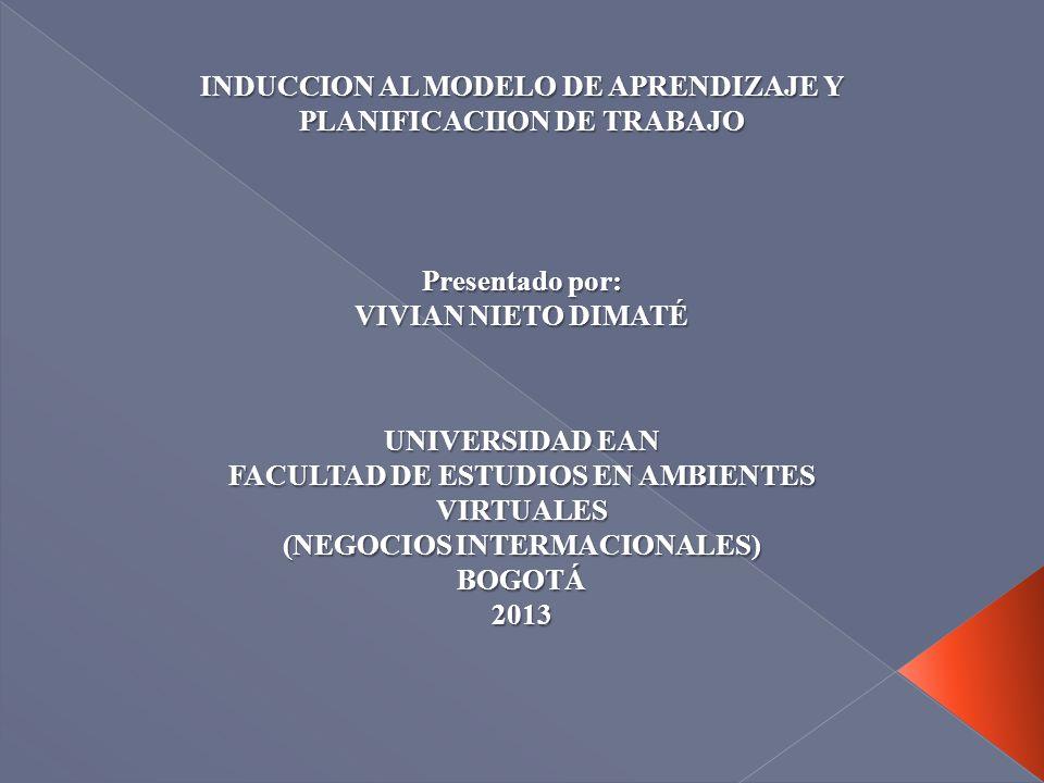 INDUCCION AL MODELO DE APRENDIZAJE Y PLANIFICACIION DE TRABAJO