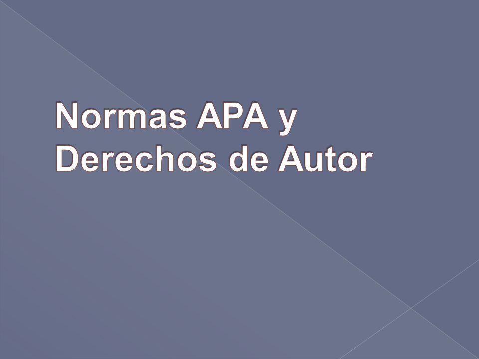 Normas APA y Derechos de Autor