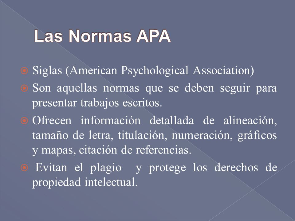 Las Normas APA Siglas (American Psychological Association)