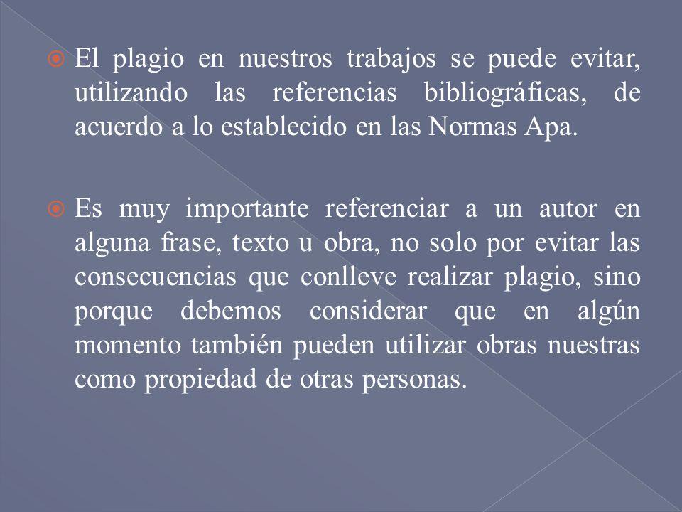 El plagio en nuestros trabajos se puede evitar, utilizando las referencias bibliográficas, de acuerdo a lo establecido en las Normas Apa.