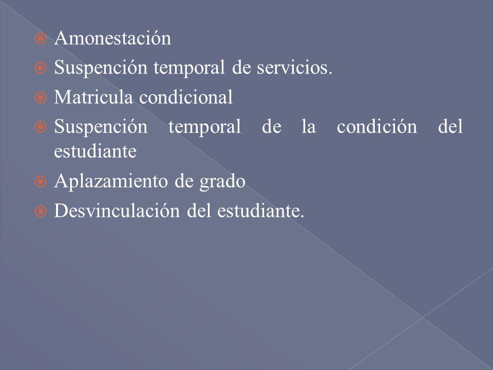 Amonestación Suspención temporal de servicios. Matricula condicional. Suspención temporal de la condición del estudiante.