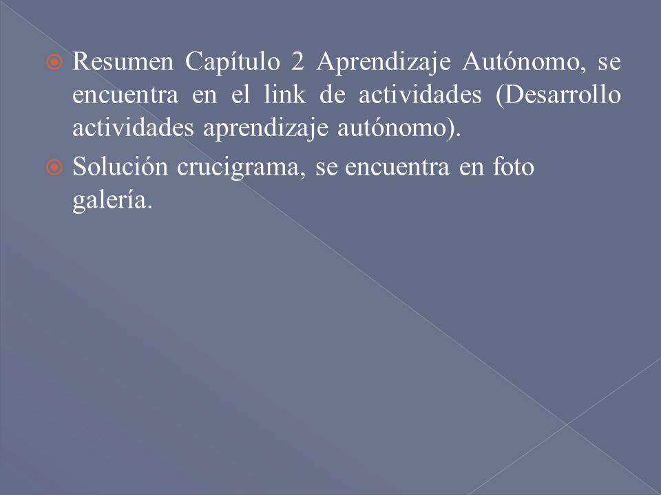Resumen Capítulo 2 Aprendizaje Autónomo, se encuentra en el link de actividades (Desarrollo actividades aprendizaje autónomo).