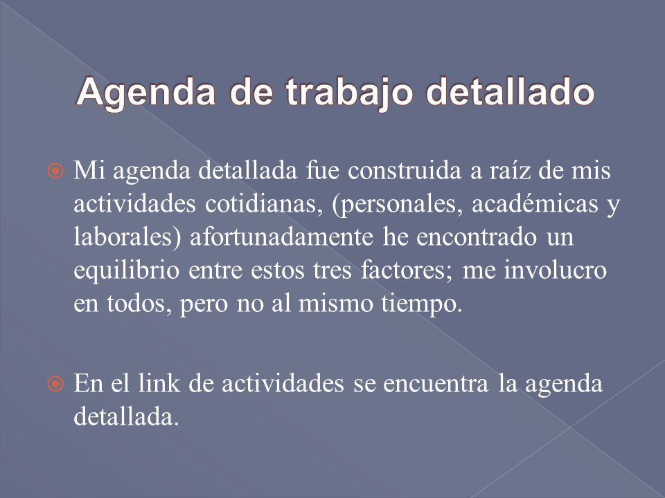 Agenda de trabajo detallado