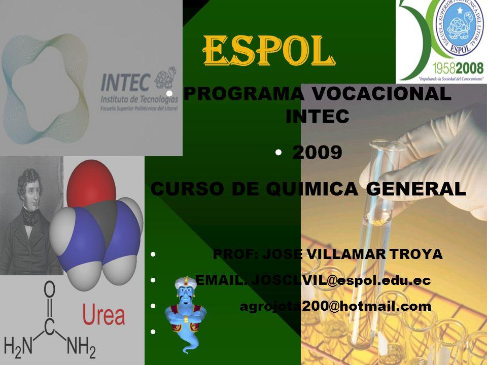 espol PROGRAMA VOCACIONAL INTEC 2009 CURSO DE QUIMICA GENERAL