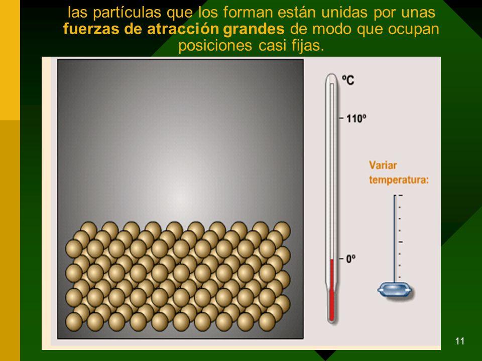 las partículas que los forman están unidas por unas fuerzas de atracción grandes de modo que ocupan posiciones casi fijas.