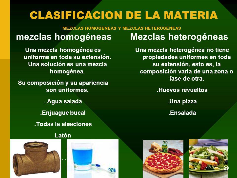 MEZCLAS HOMOGENEAS Y MEZCLAS HETEROGENEAS
