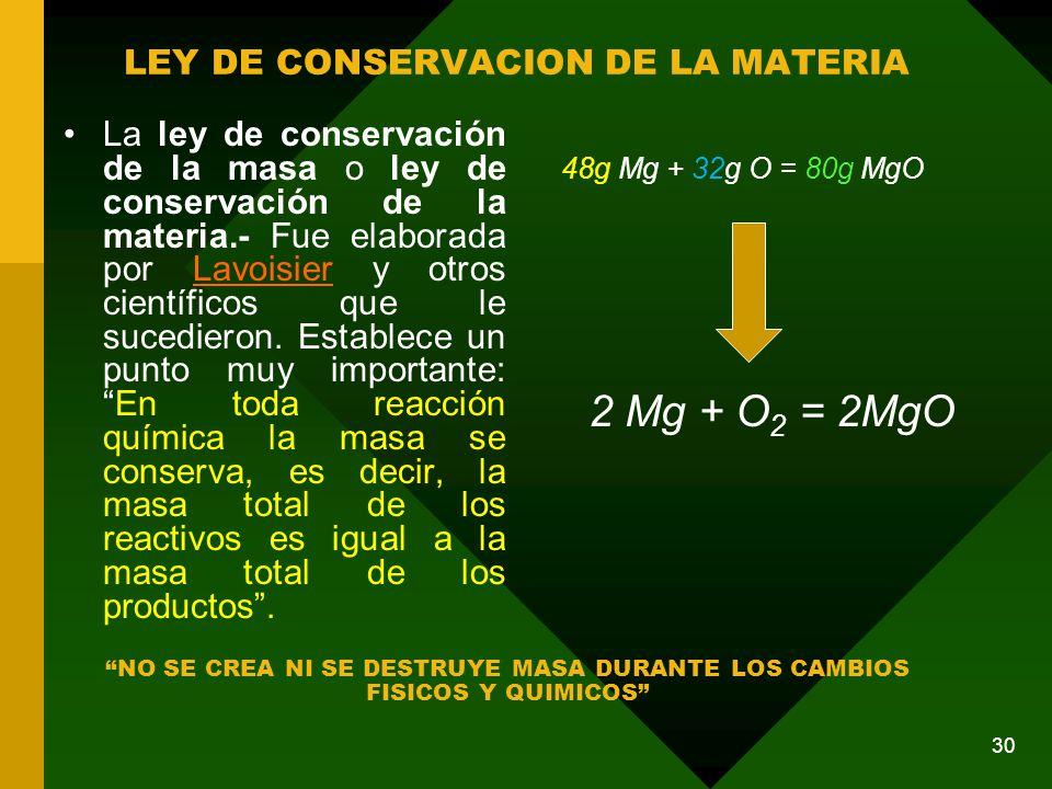 LEY DE CONSERVACION DE LA MATERIA