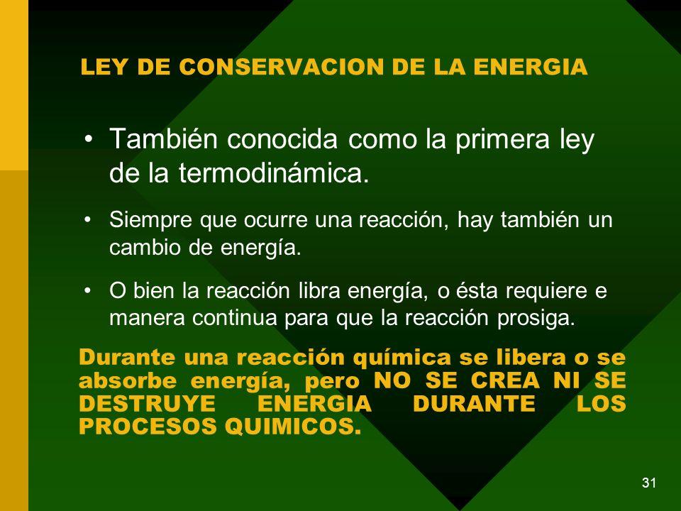 LEY DE CONSERVACION DE LA ENERGIA