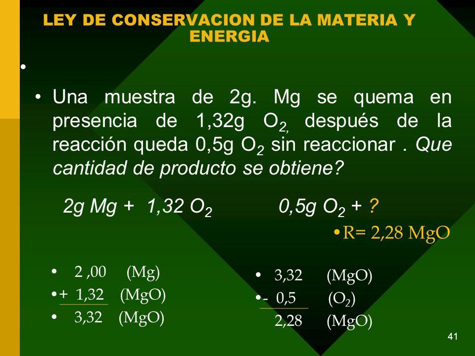 LEY DE CONSERVACION DE LA MATERIA Y ENERGIA