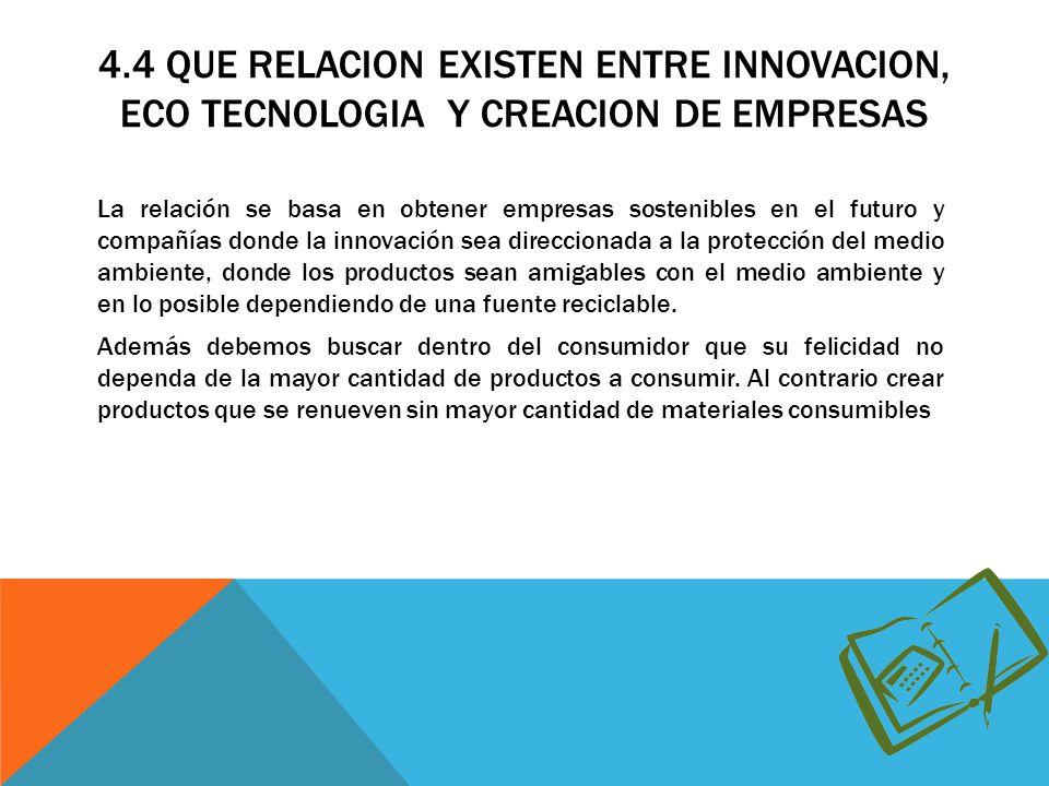 4.4 QUE RELACION EXISTEN ENTRE INNOVACION, ECO TECNOLOGIA Y CREACION DE EMPRESAS