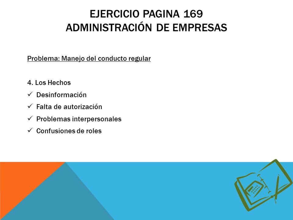 Ejercicio pagina 169 Administración de empresas