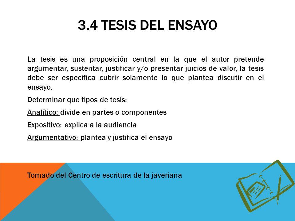 3.4 TESIS DEL ENSAYO